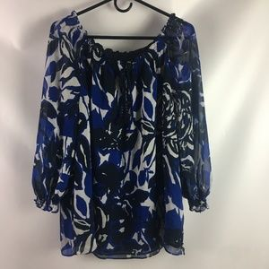 Dana Buchman Blouse XL Blue  Blouse Sheer Sleeves
